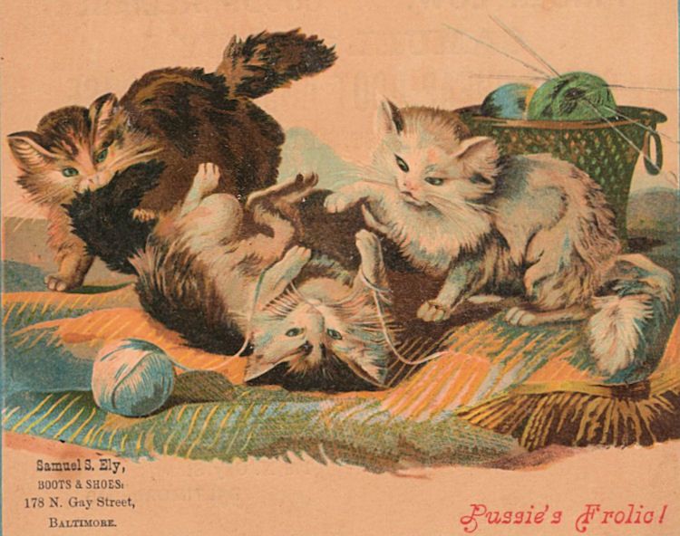 Vintage Knitting Clipart : Free victorian clip art cats with yarn the graphics fairy