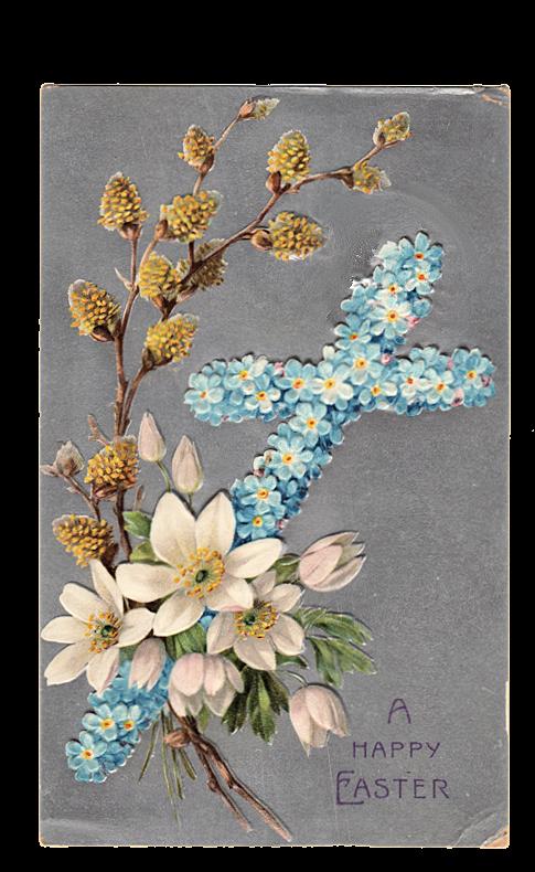 Vintage Clip Art - Easter Cross Postcard - The Graphics Fairy