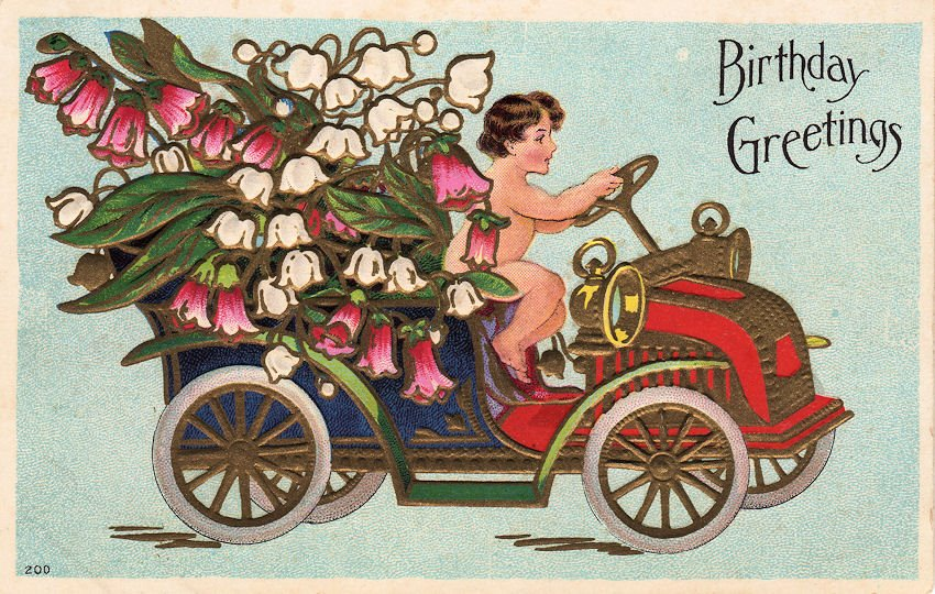 Vintage Flowers Birthday Cards ~ Free vintage graphic cherub in flower car the graphics fairy
