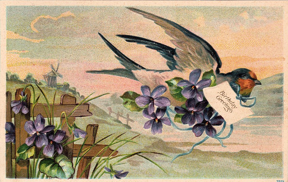Free Vintage Clip Art Swallow With Violets The