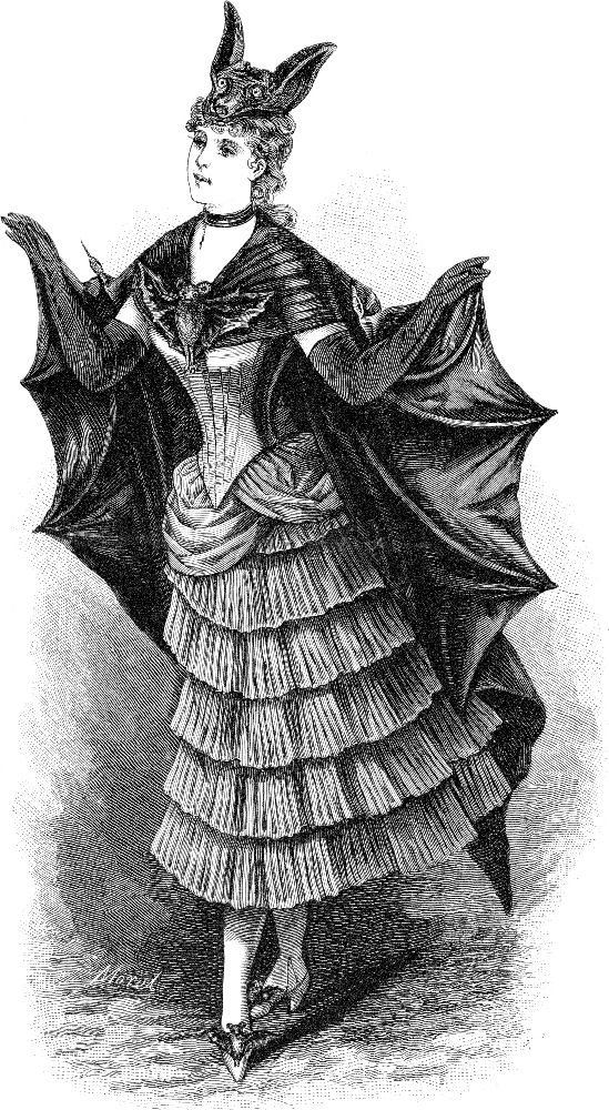 Free Vintage Clip Art 2 Victorian Bat Ladies Halloween