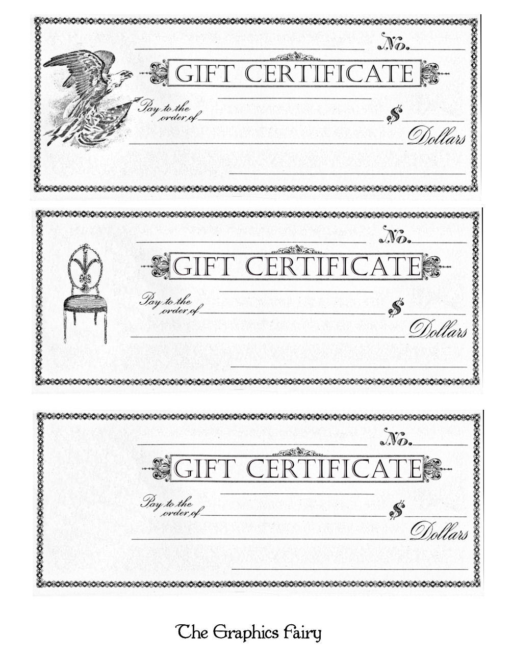 Free Printable Gift Certificates The Graphics Fairy - Downloadable gift certificate template