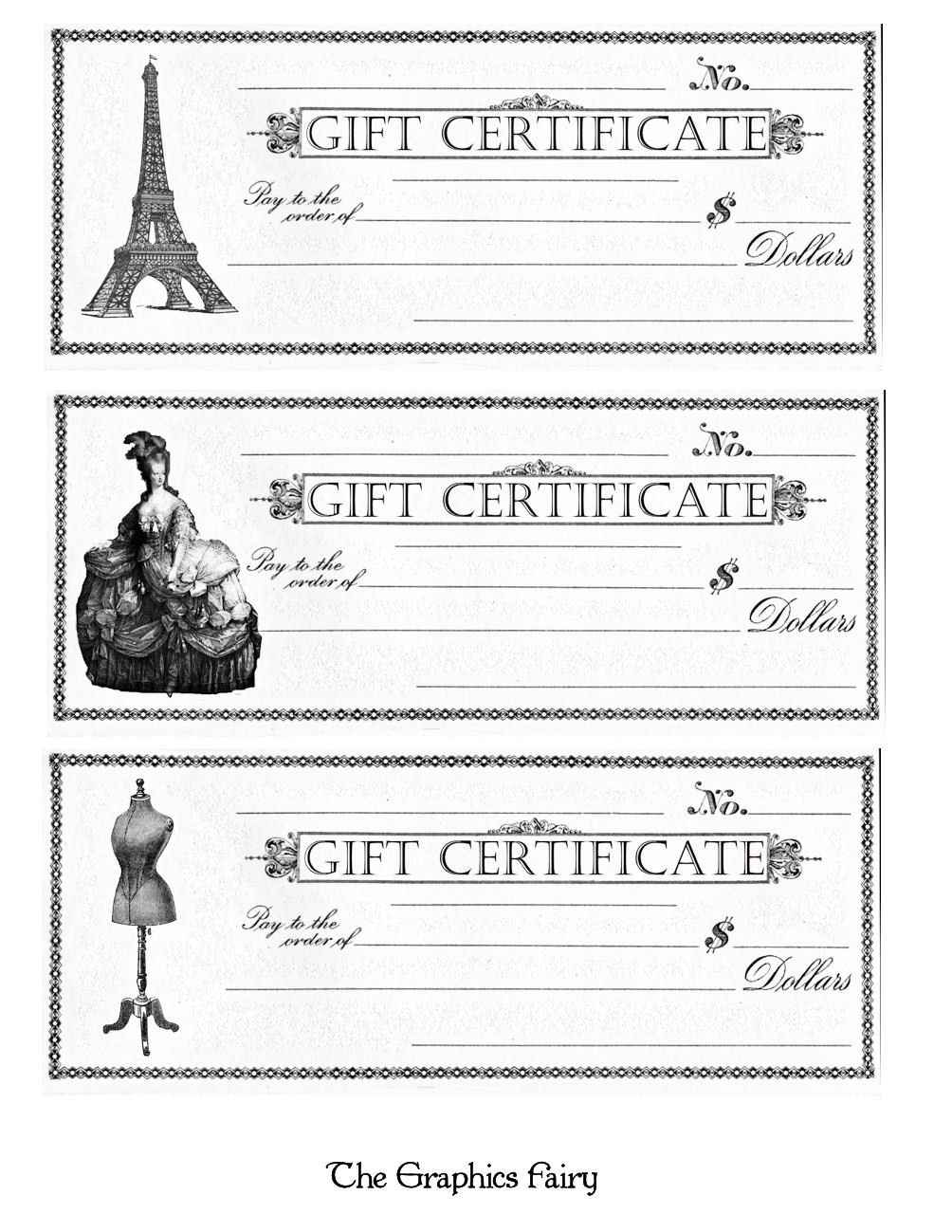 Free printable gift certificates the graphics fairy make sure you click on the sheets to enlarge them and then you can print them out i made several styles including the original version marie antoinette xflitez Images