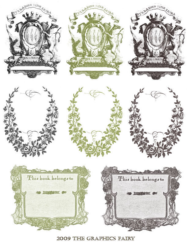 Free printable vintage bookplates the graphics fairy for Free printable bookplates templates