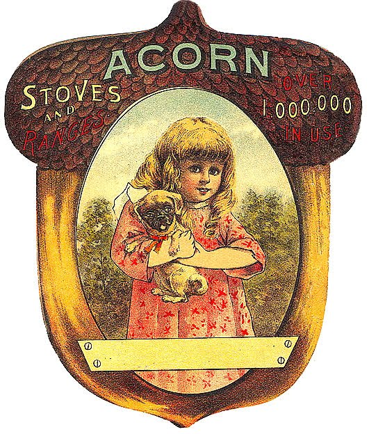 Free Vintage Fall Clip Art Girl With Puppy And Acorn