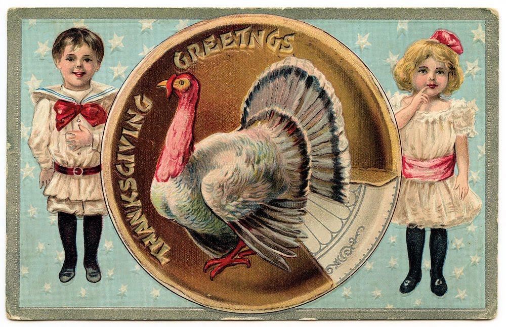 Free Vintage Clip Art - Cutest Thanksgiving Postcard - The ...