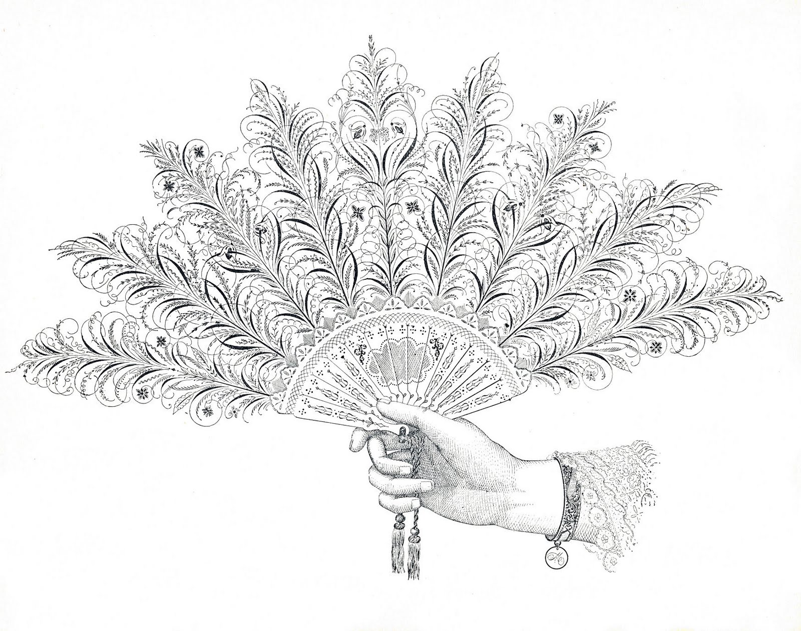 Free Antique Clip Art Pen Flourishing Fan And Hand The