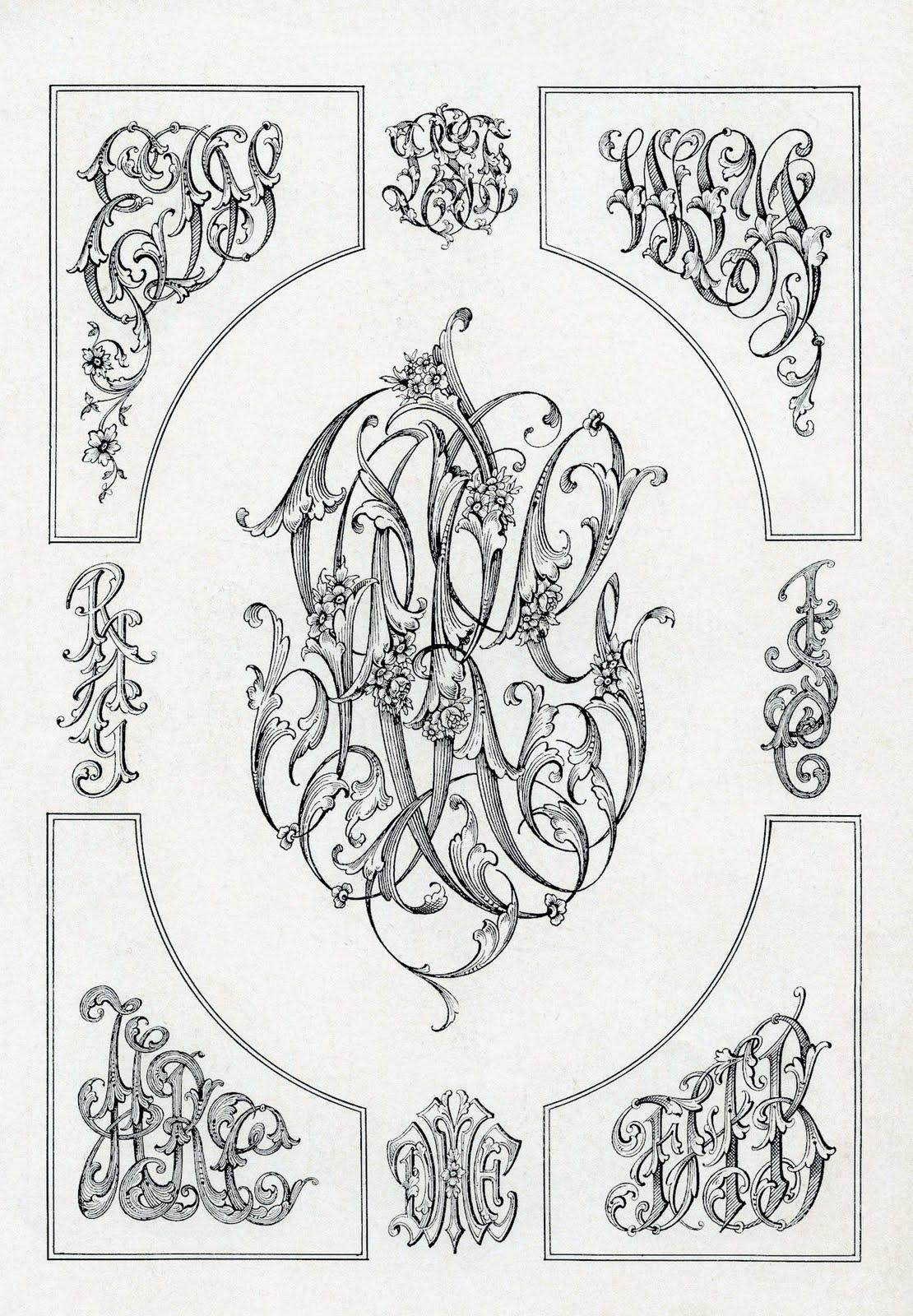 free vintage clip art - monogram ephemera