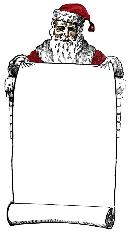 ... Vintage Clip Art - Victorian Santa Sign Holder - The Graphics Fairy