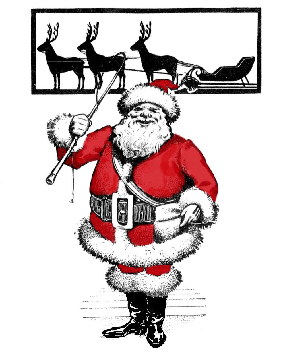 Free Vintage Clip Art Santa With Reindeer Silhouette