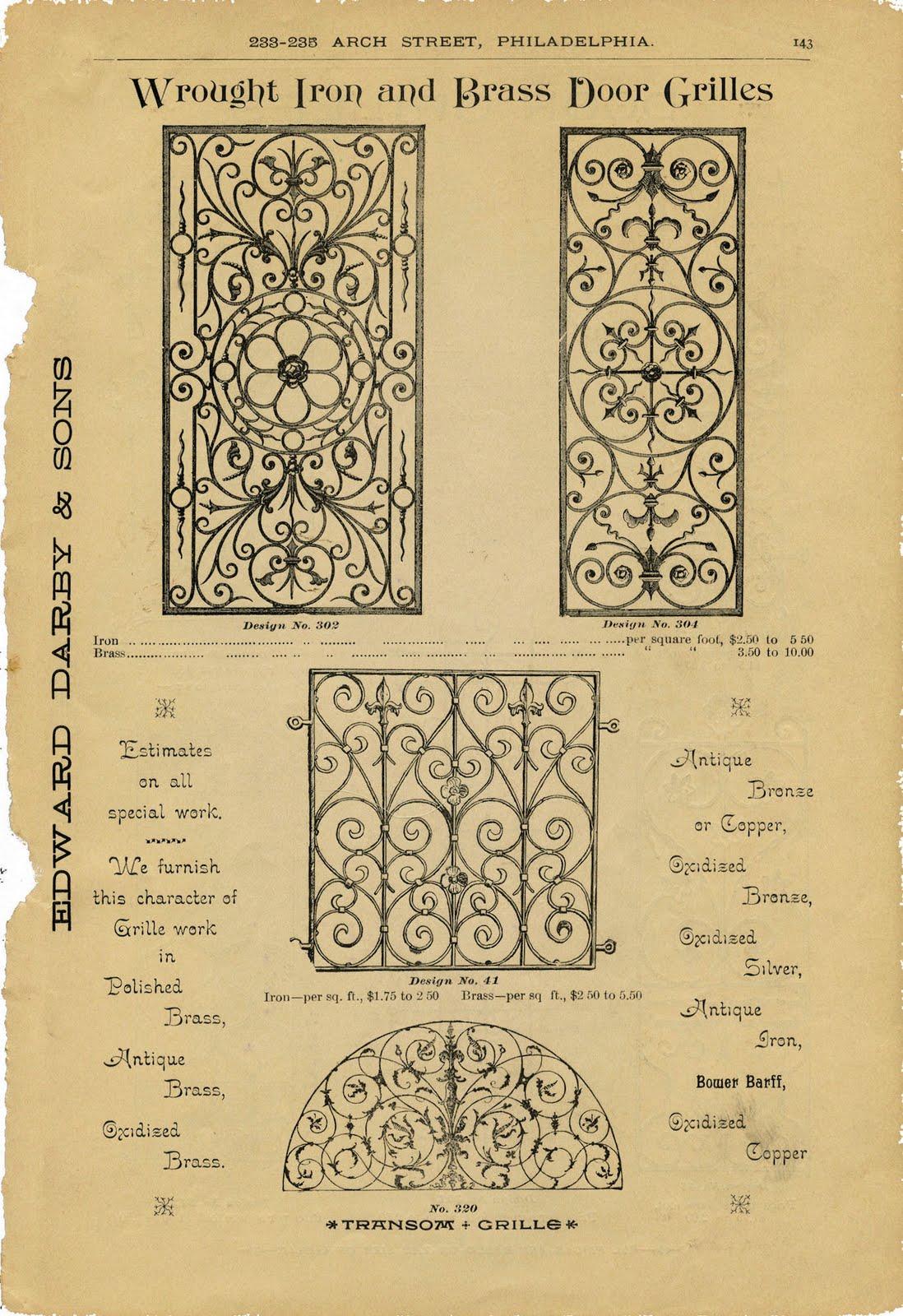 Free Vintage Clip Art Iron Scrollwork Hardware Catalog