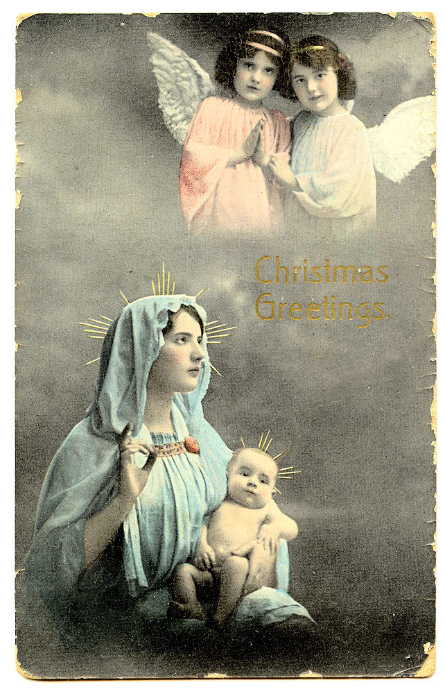 Free Vintage Clip Art - Baby Jesus, with Mary & Angels ...