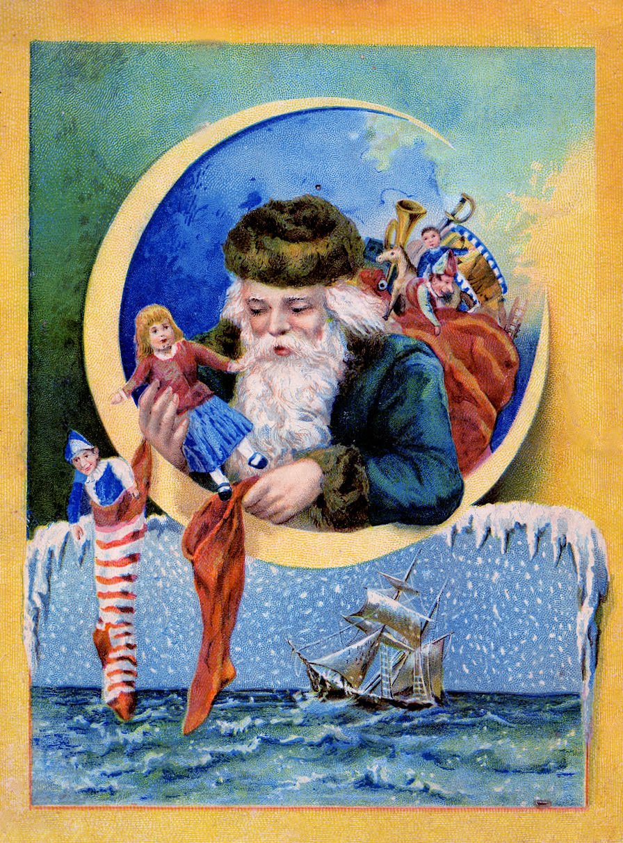 free christmas clip art antique santa with moon the graphics fairy