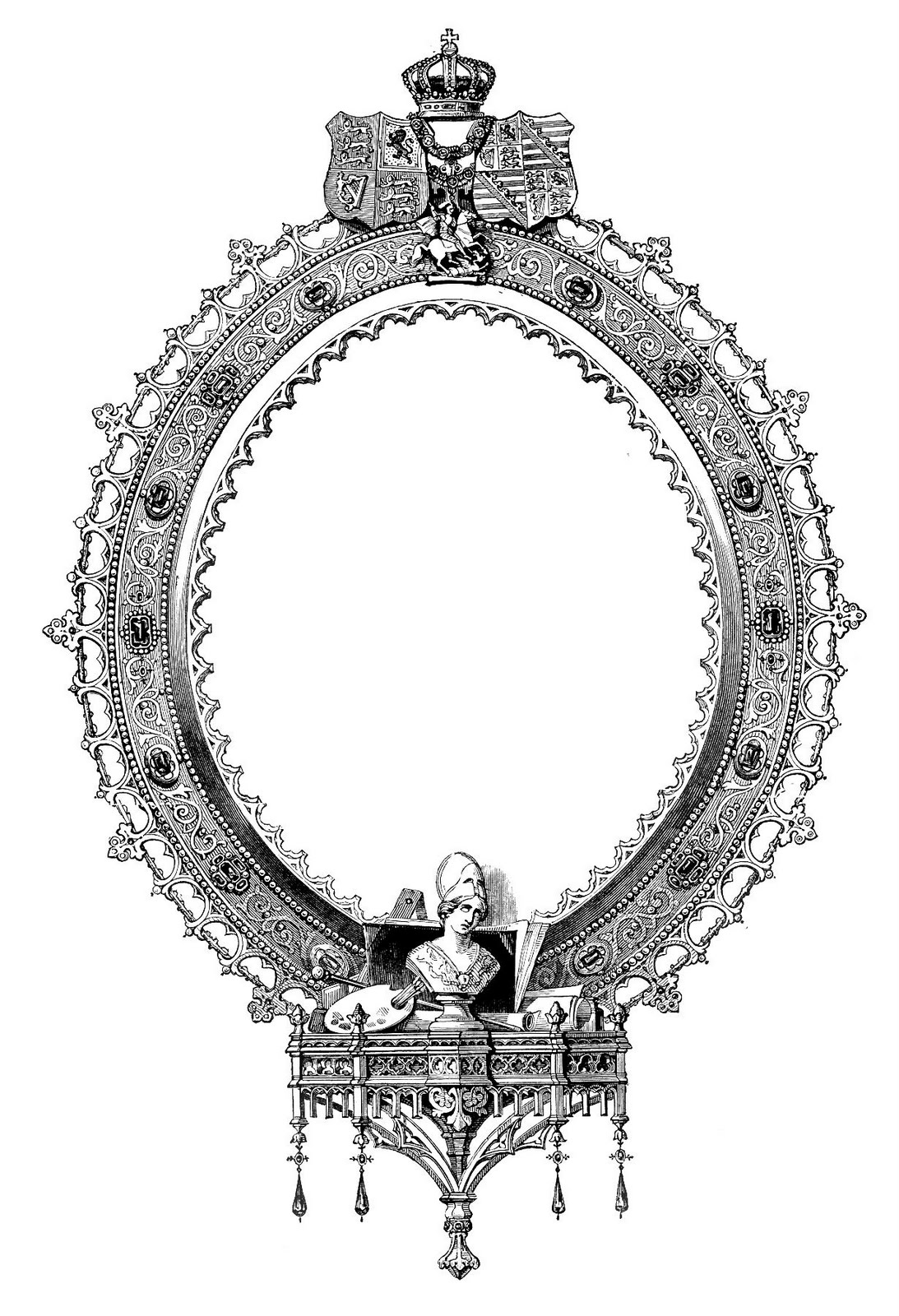 ornate frame clip art image with crown - Engraved Picture Frame