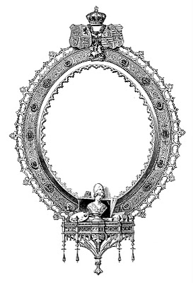 ornate frame clip art image with crown