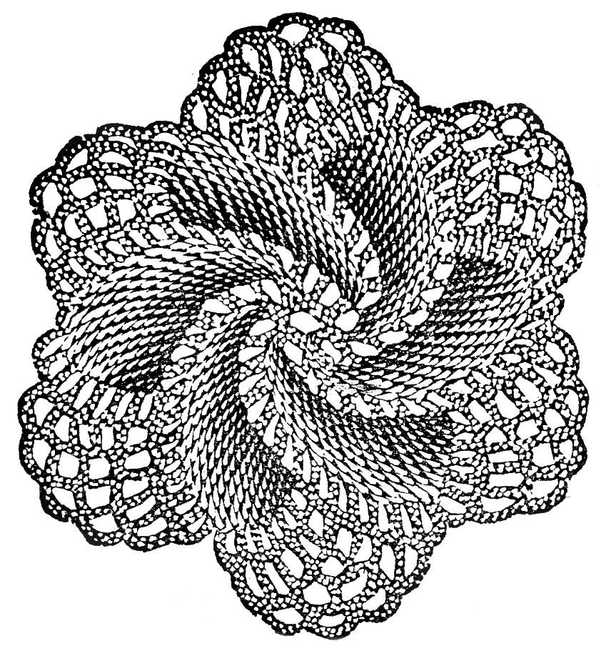 Vintage Clip Art Crocheted Doily Rose The Graphics Fairy