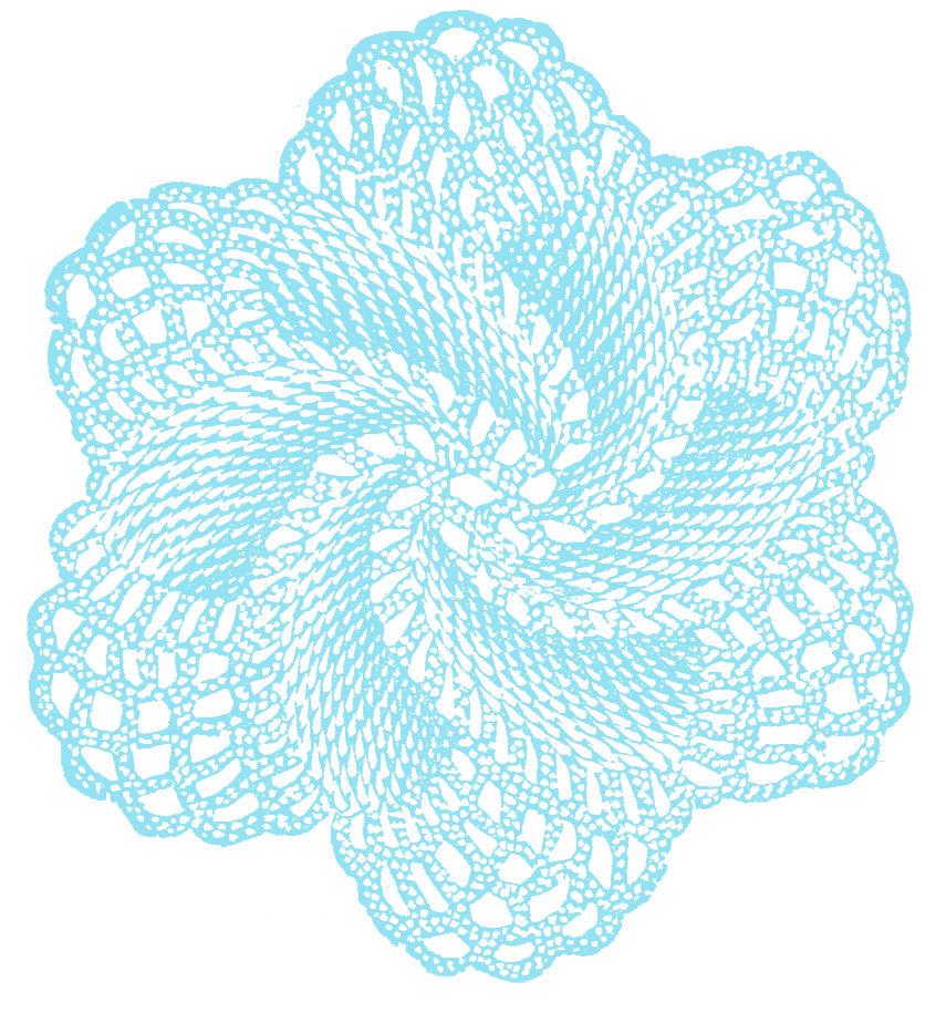 Vintage Clip Art Crocheted Doily Rose on S Spiral Border Green
