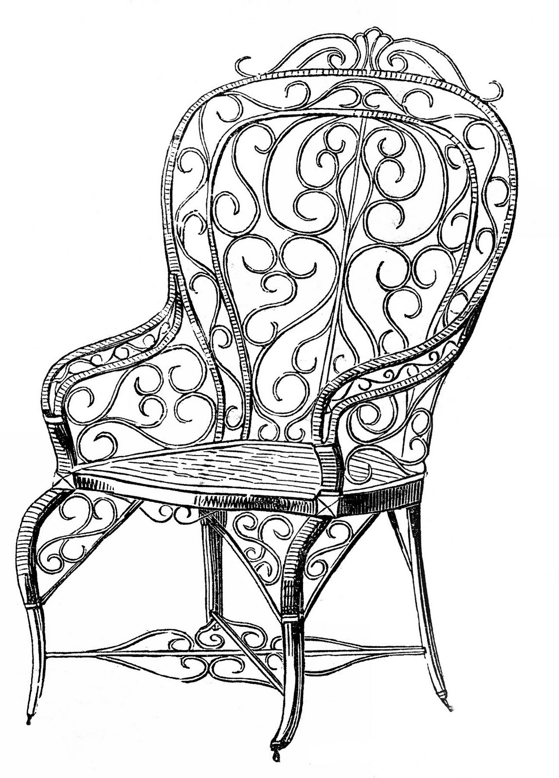 Vintage Clip Art Wicker Garden Chair