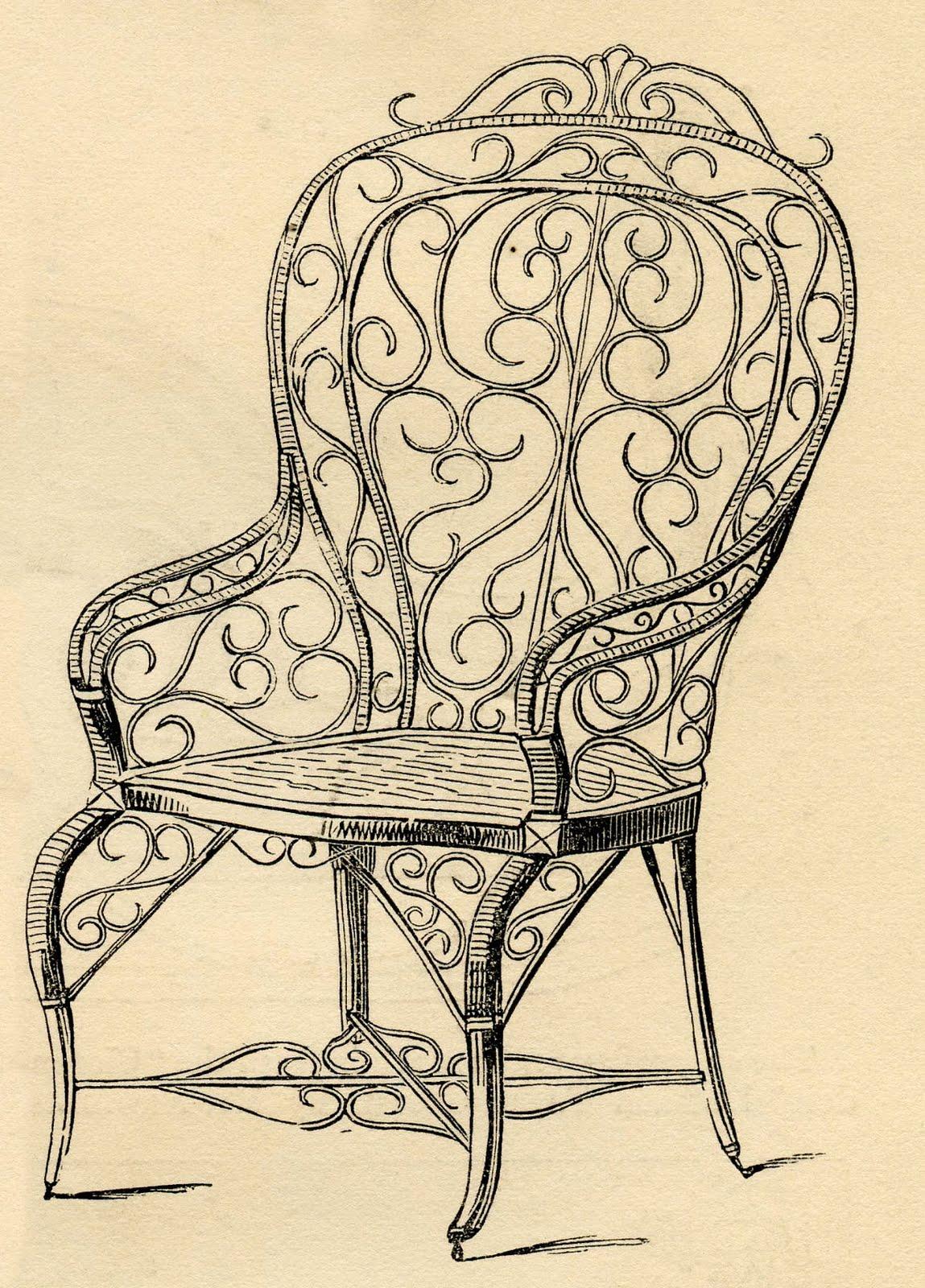 Vintage Clip Art – Wicker Garden Chair - Vintage Clip Art - Wicker Garden Chair - The Graphics Fairy