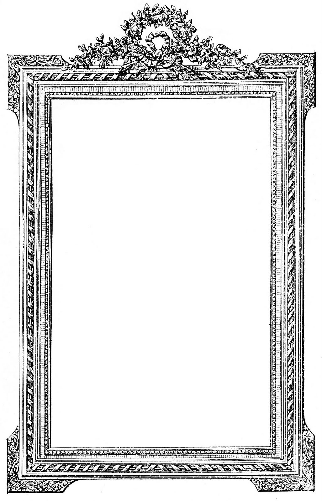 Picture frame clipart  Antique French Picture Frame - Clip Art Image - The Graphics Fairy