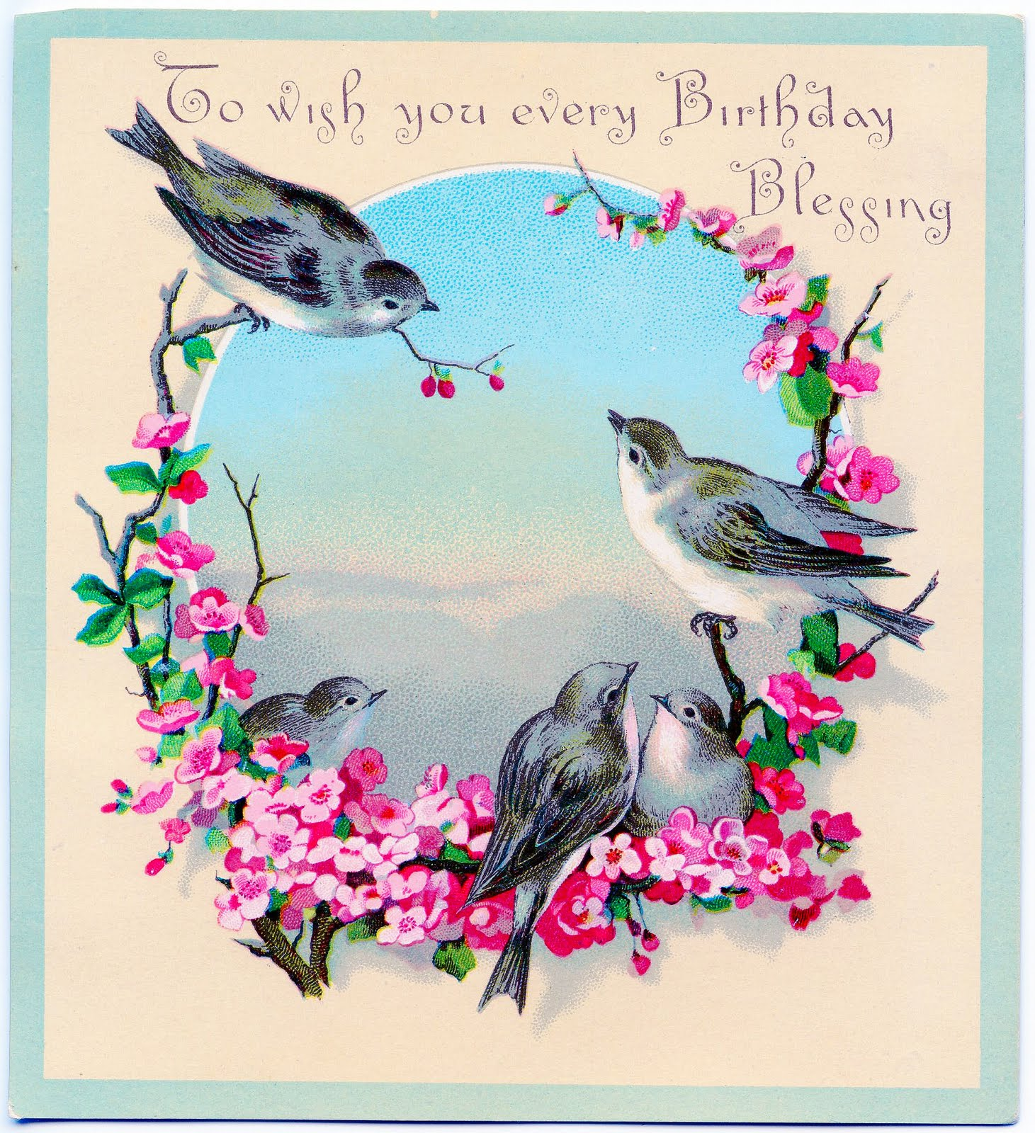 Vintage Clip Art Image - Sweet Birds with Flowers - Birthday Greeting - The Graphics Fairy