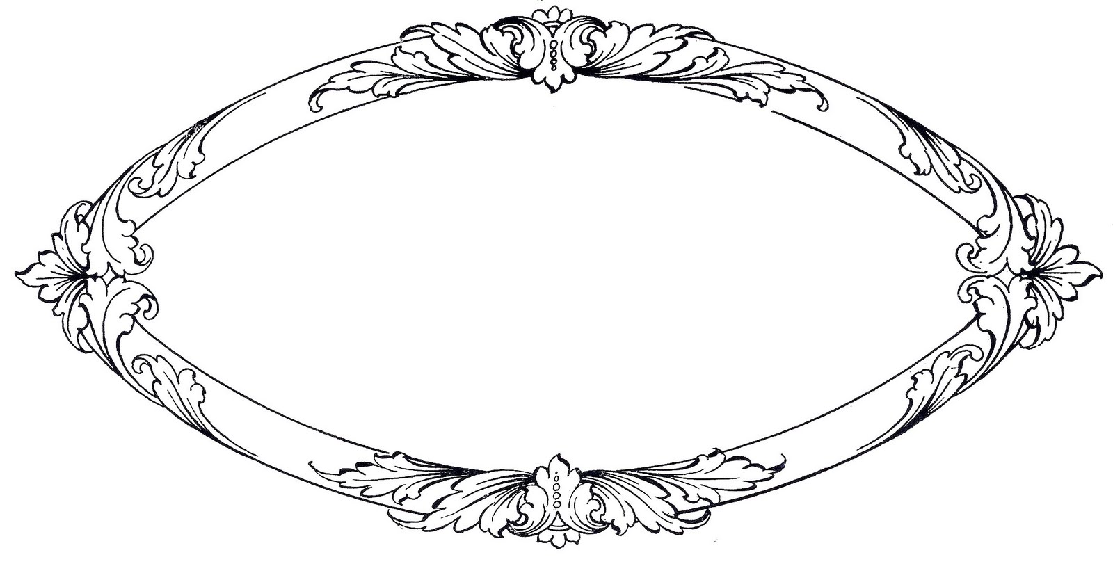 Vintage Clip Art Ornate Oval Frame With Scrolls