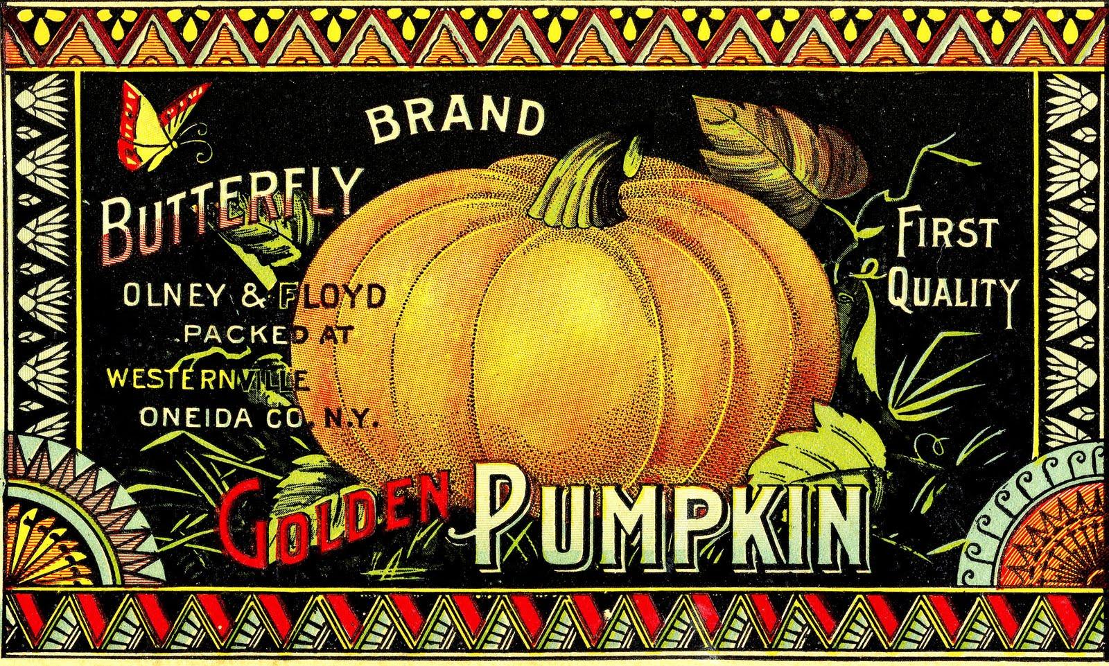 Vintage Halloween Clip Art - Pumpkin Label - The Graphics ...