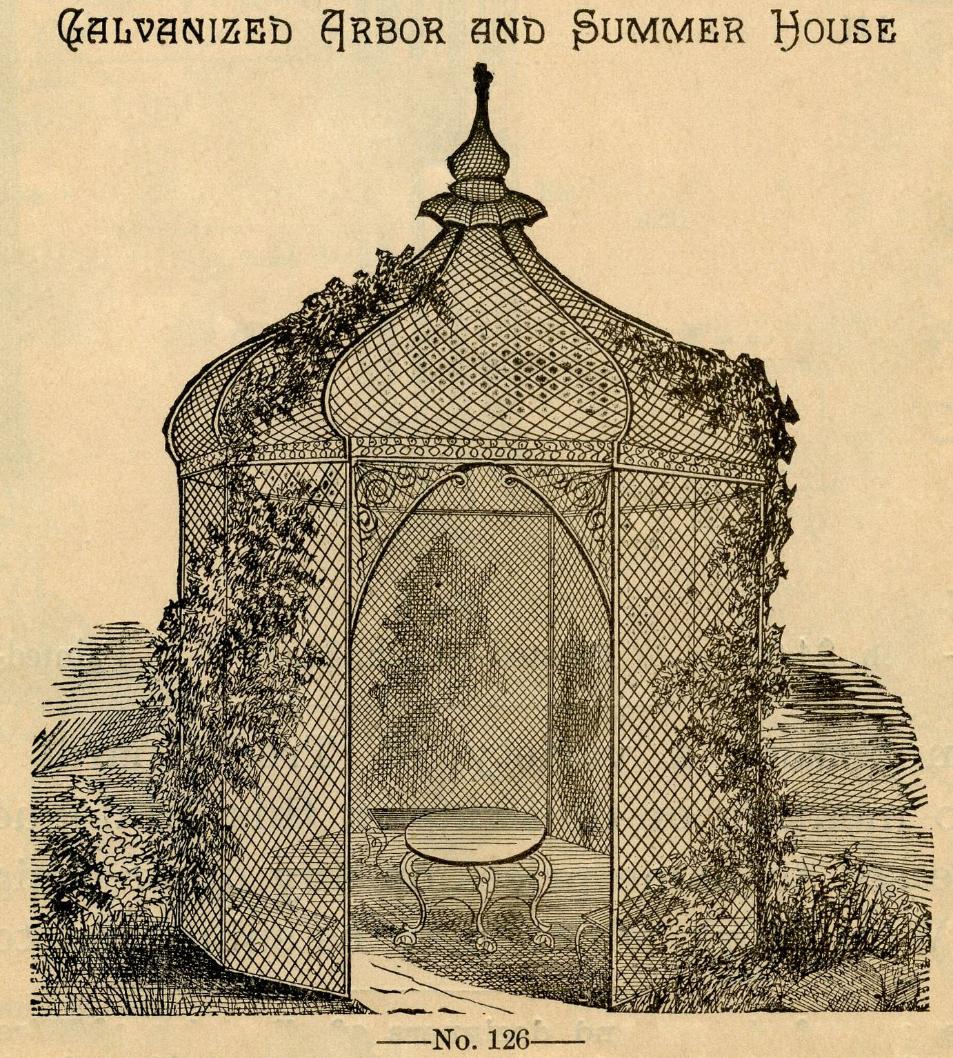 Vintage Garden Graphic - Beautiful Gazebo - The Graphics Fairy
