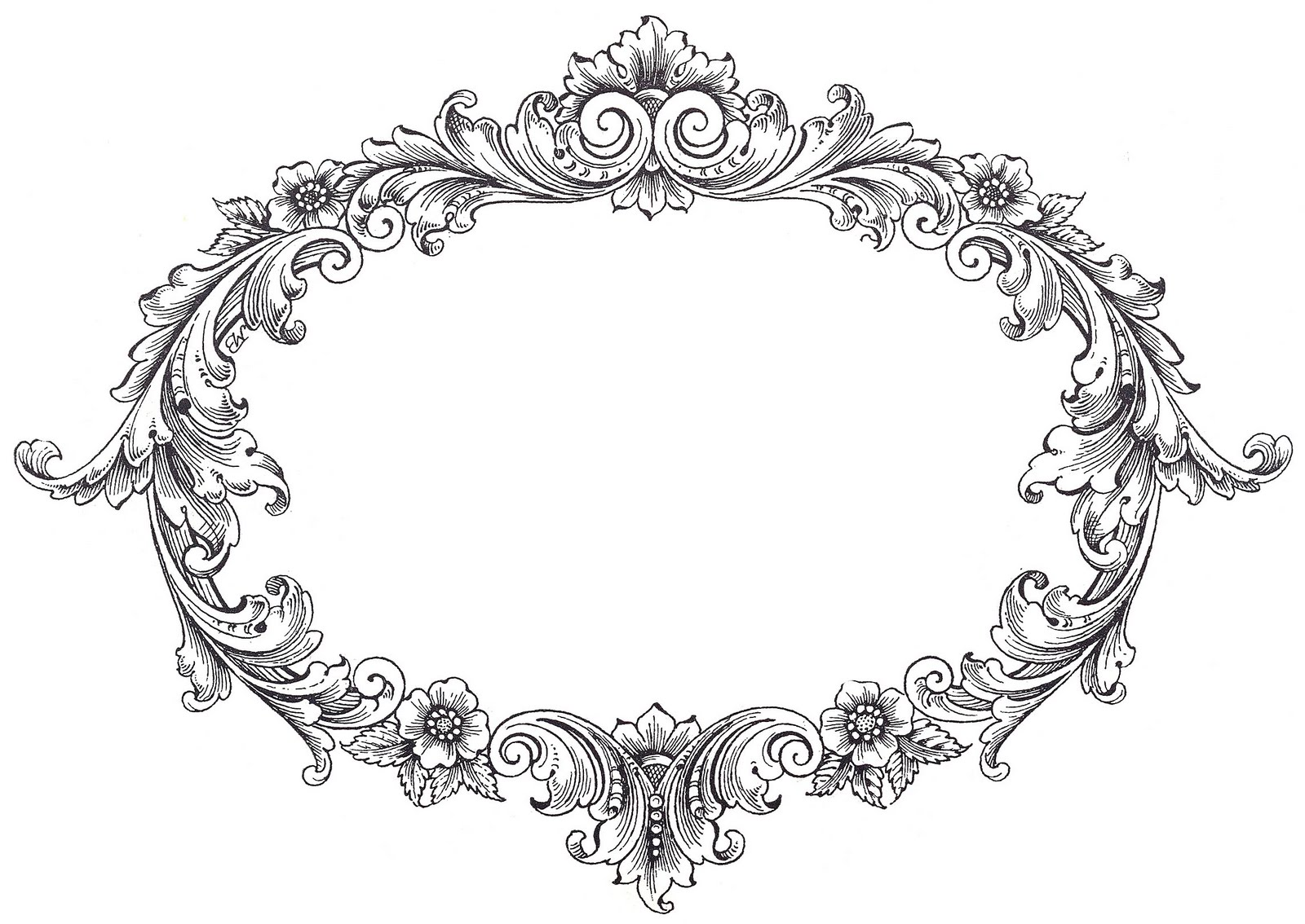 Vintage clip art fancy oval frame