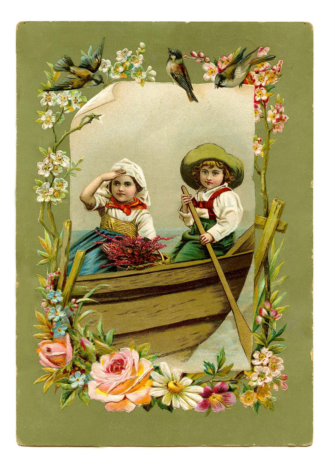 Vintage Image Gorgeous Children In Boat With Birds The