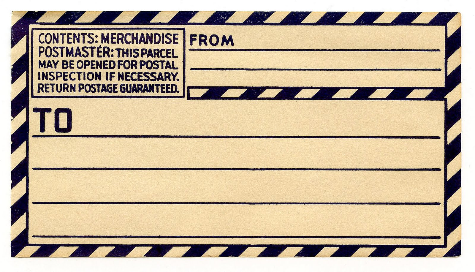 Vintage Clip Art - Old Gummed Parcel Post Label - The Graphics Fairy