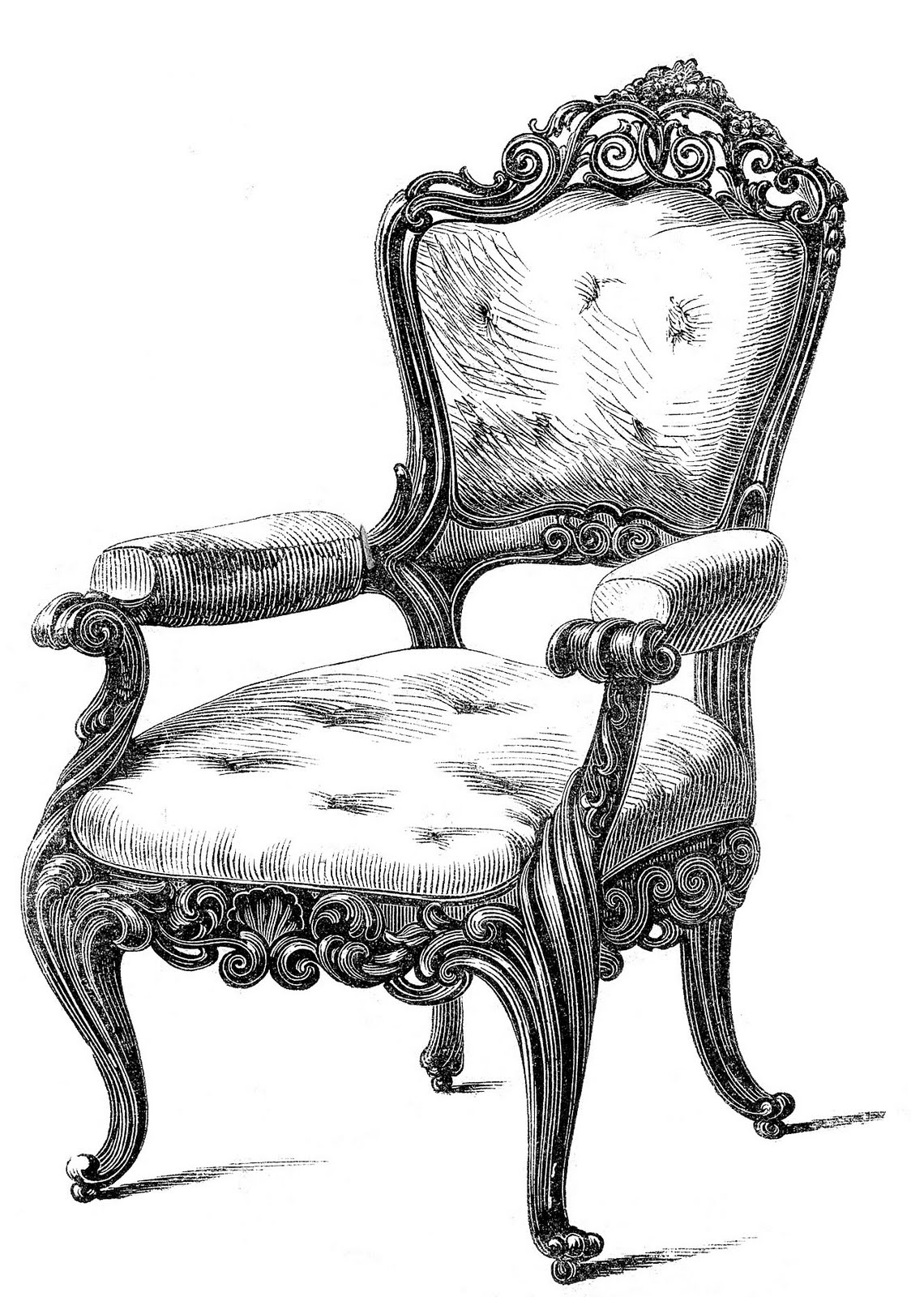Vintage Clip Art 2 Fancy Chairs The Graphics Fairy