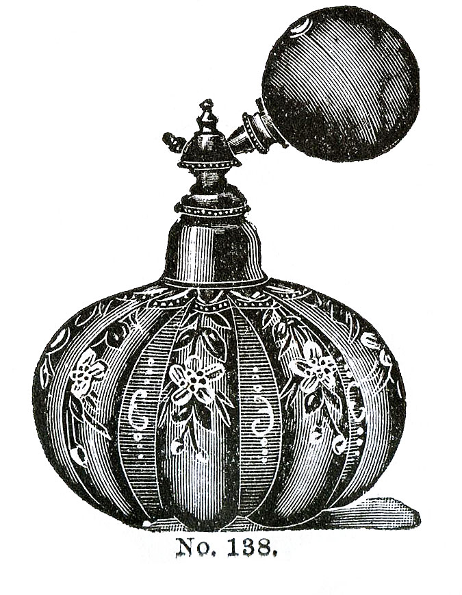 Victorian Clip Art 3 Perfume Bottles with Atomizers