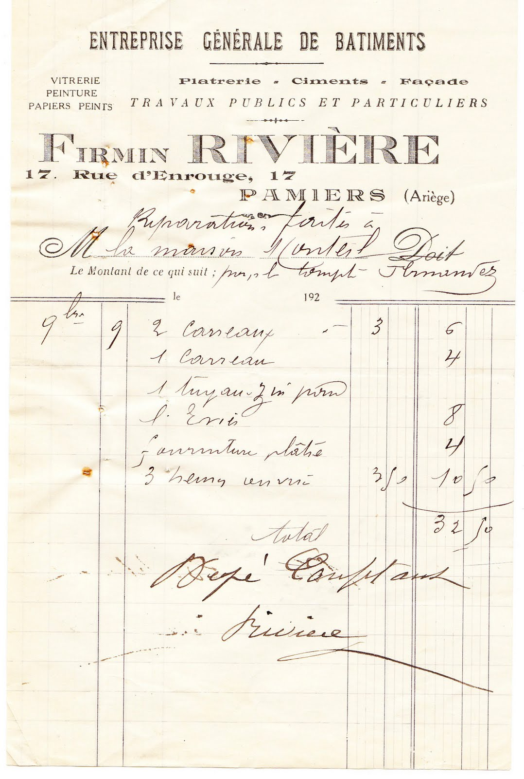 Gorgeous French Ephemera Image U2013 Old Invoice. Written ...  Written Invoice