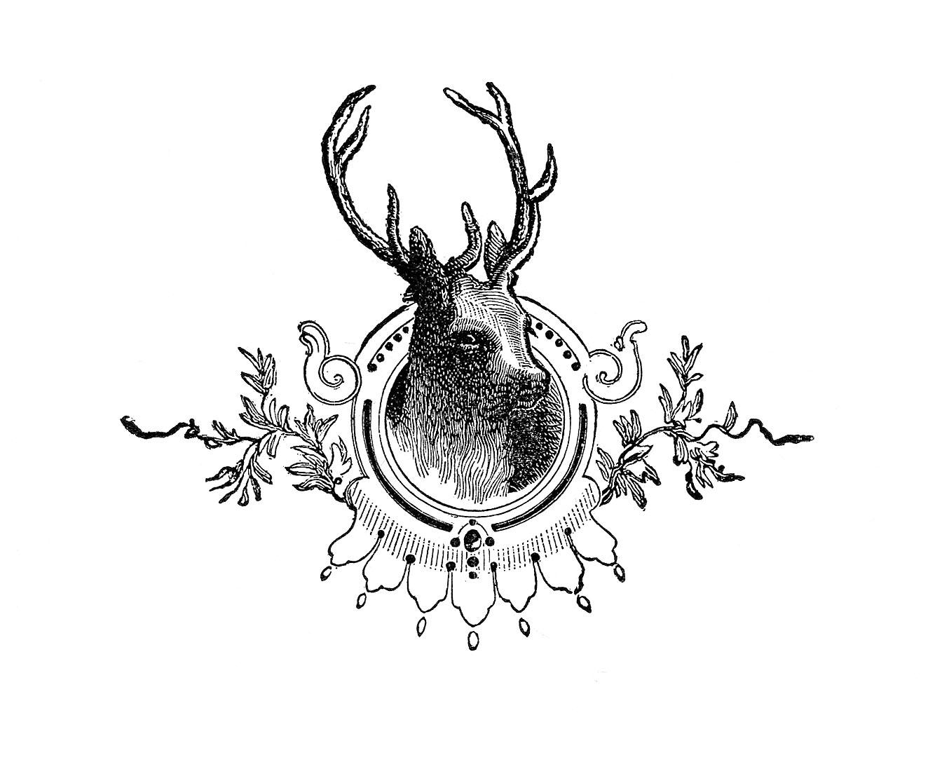 Vintage Christmas Image - Deer Head Engraving - The ...