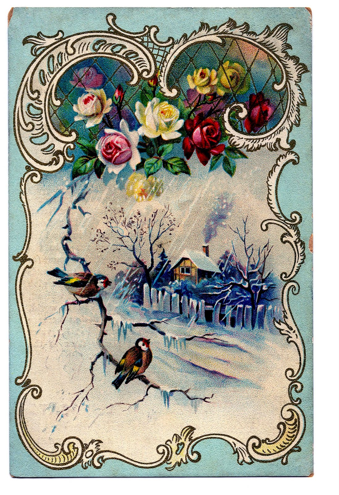 Victorian Clip Art - Beautiful Winter Scene + French Frame ...