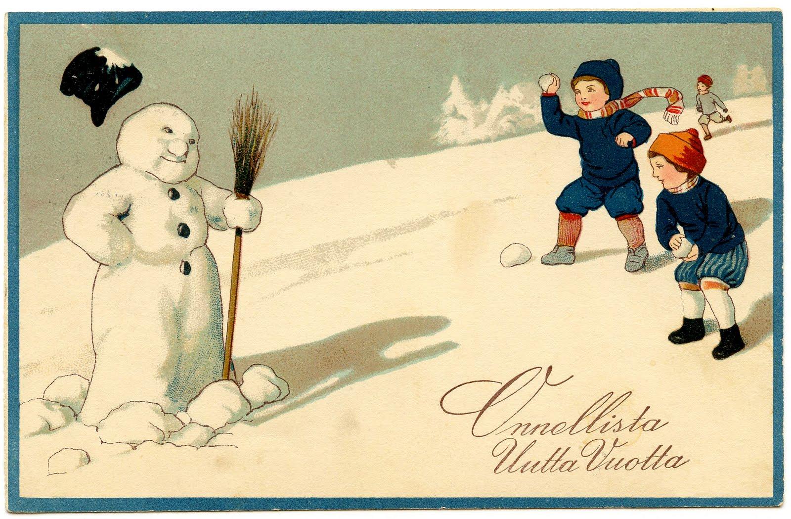 Vintage Clip Art Image Adorable Snowman