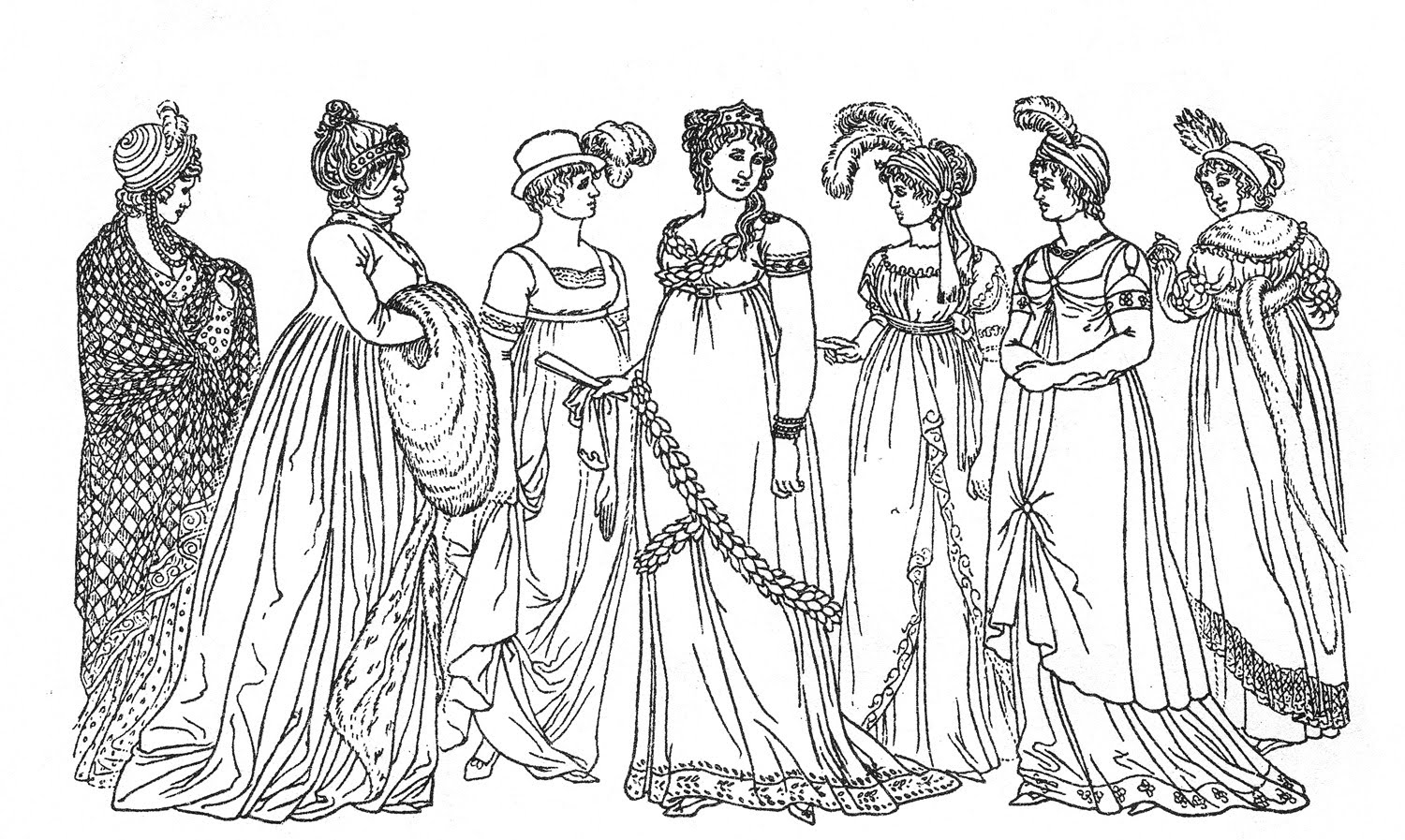 Victoria coloring dresses victorian clothes colouring pages page 2 - Vintage Kids Printable Regency Ladies Color Page