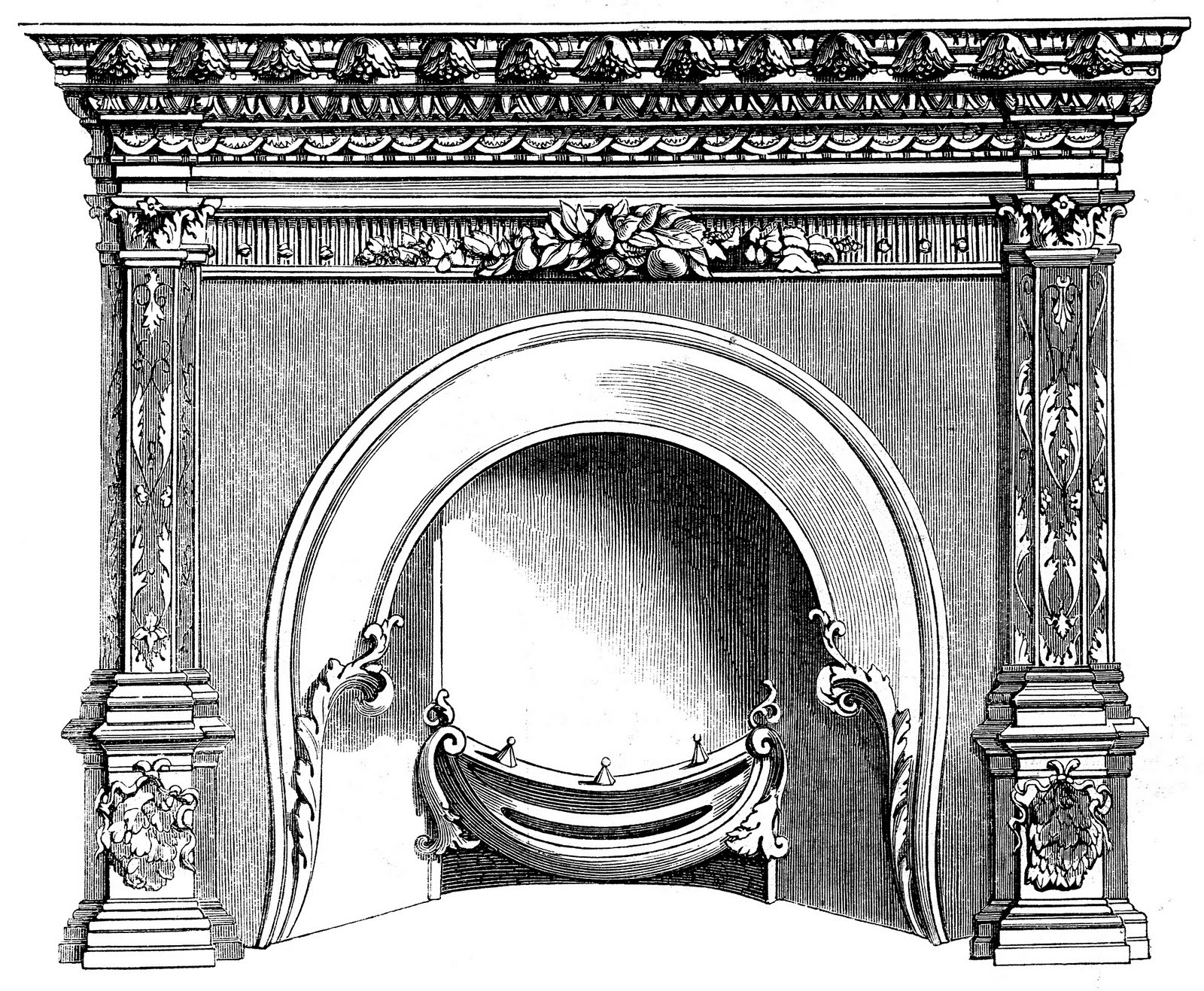 Vintage Clip Art - Fireplace Mantels - Christmas - The Graphics Fairy