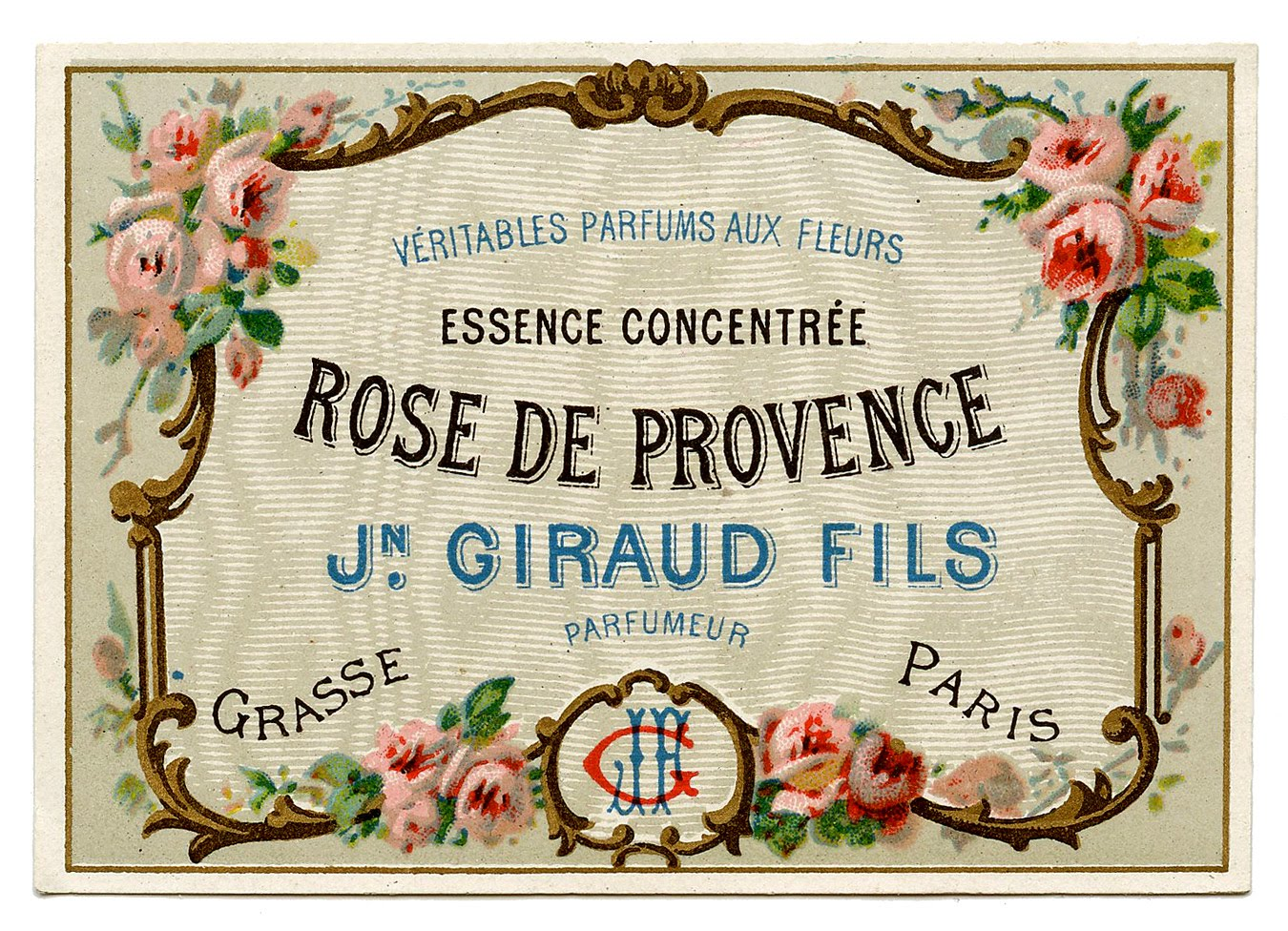 vintage clip art - pretty french perfume label - frame - the