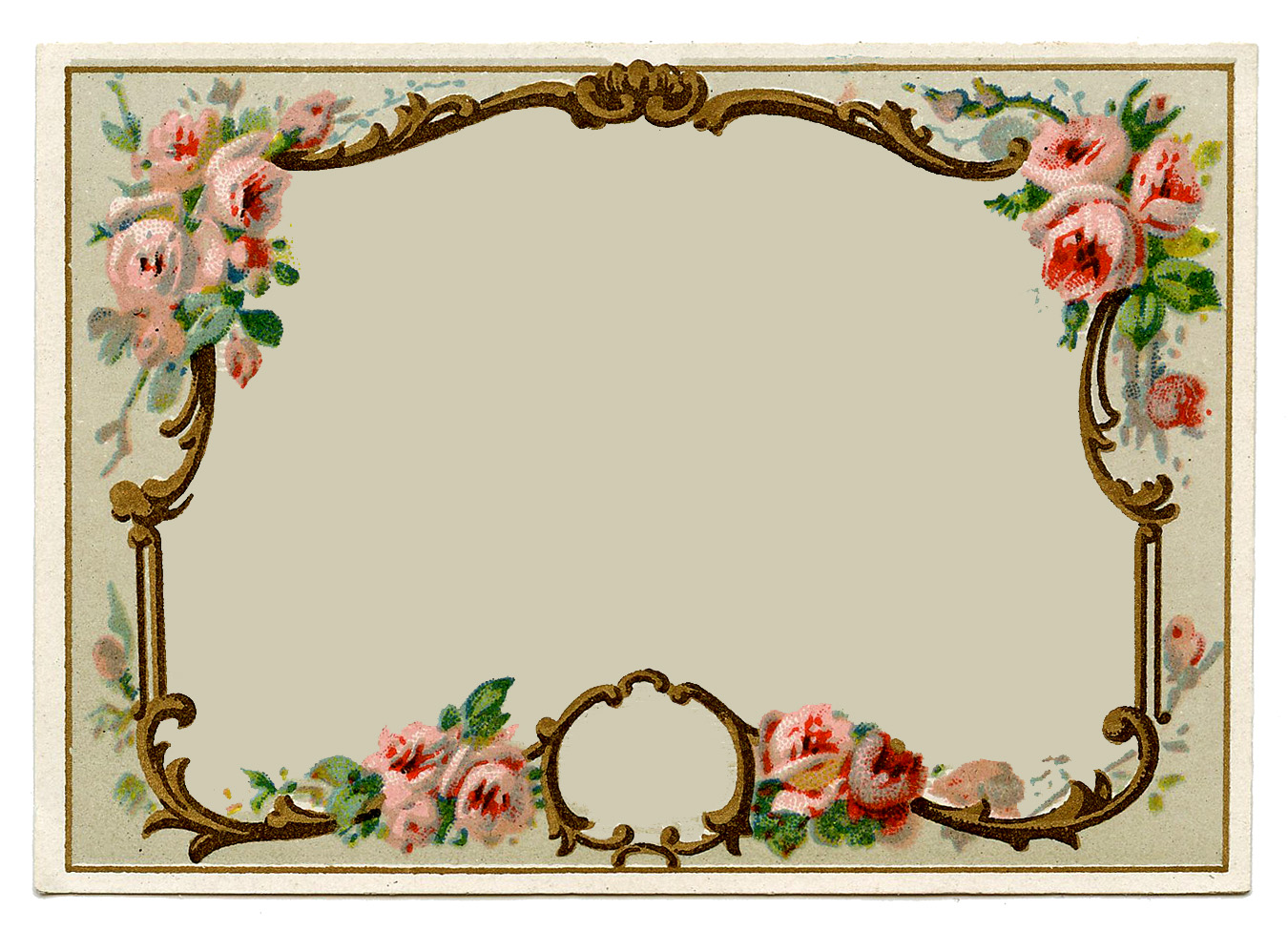 Vintage clip art – pretty french perfume label – frame