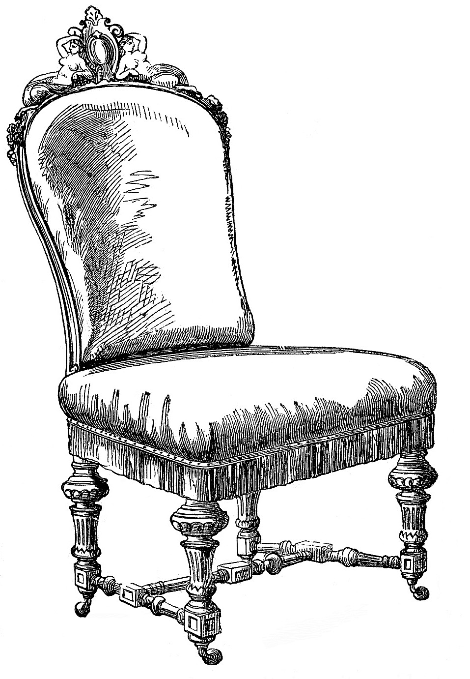 Black chair and white chair - Vintage Clip Art Frenchy Chairs