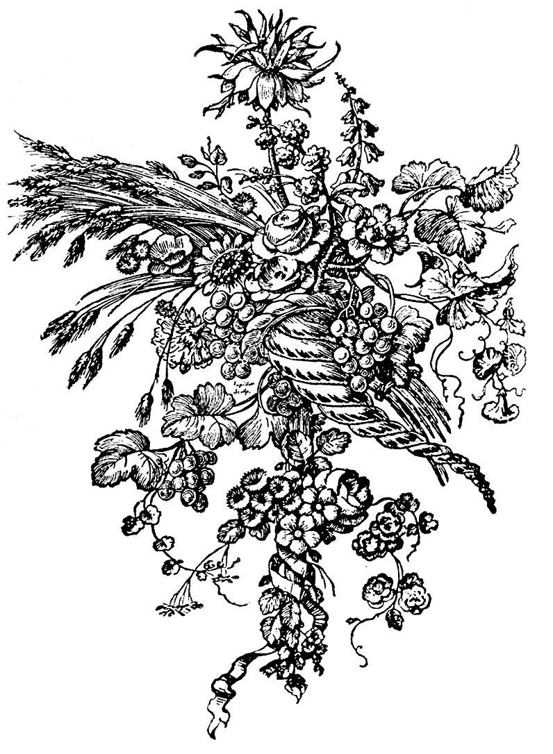 Beautiful French Ornaments Cornucopia With Flowers The