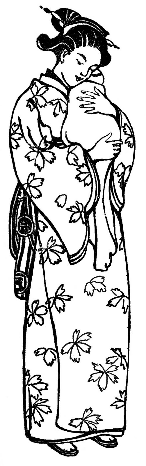 vintage clip art japanese mother in kimono the graphics fairy