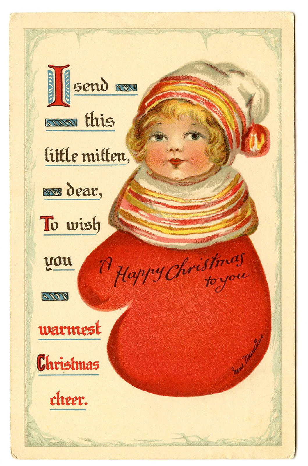 Vintage Christmas Clip Art - Darling Little Mitten Girl - The Graphics ...