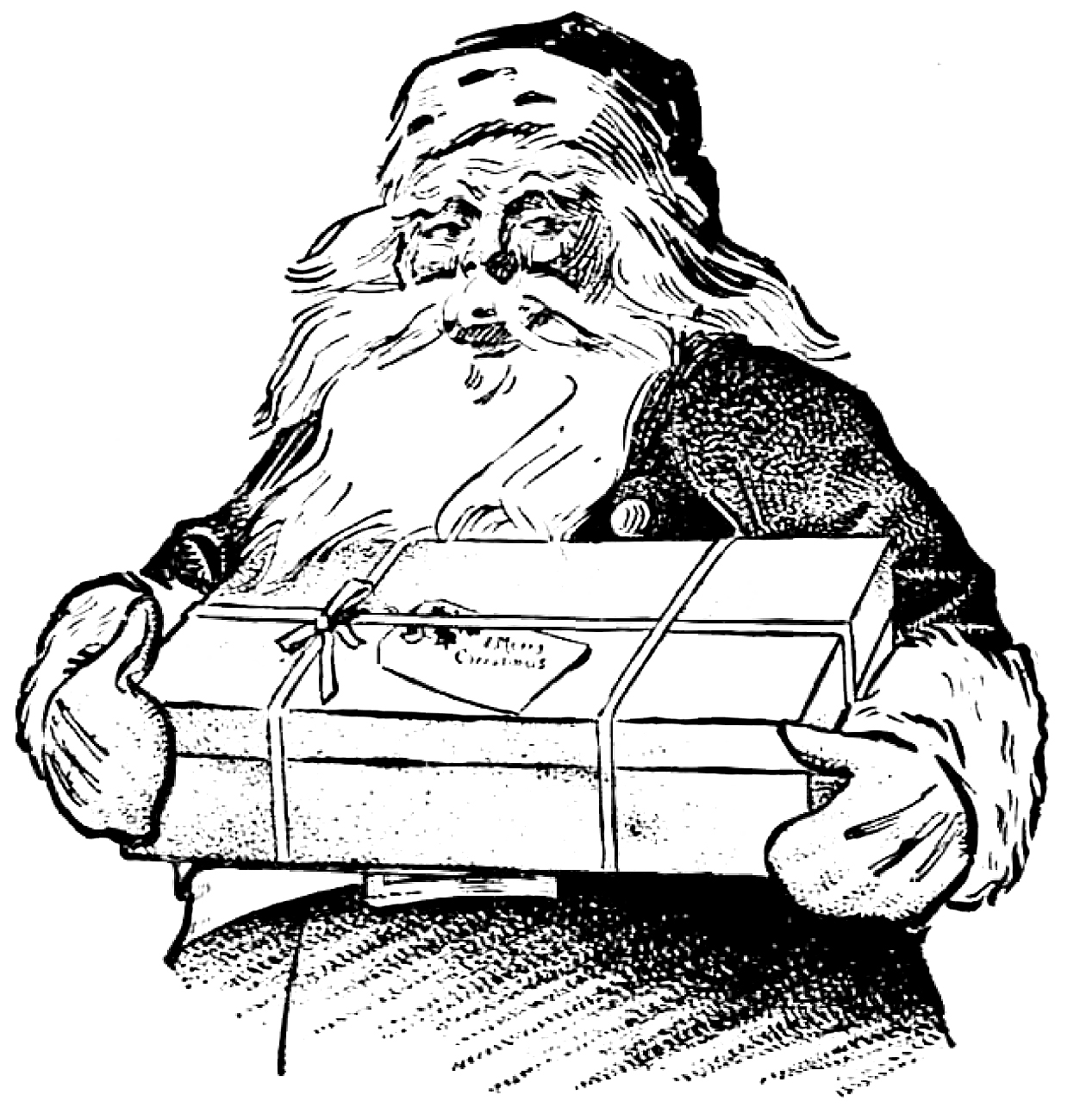 vintage christmas clip art santa with gift