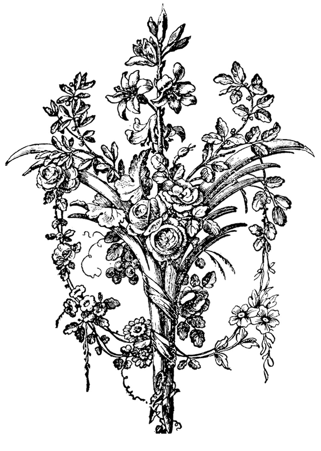 Vintage Graphic Images - French Ornaments with Roses - The ...