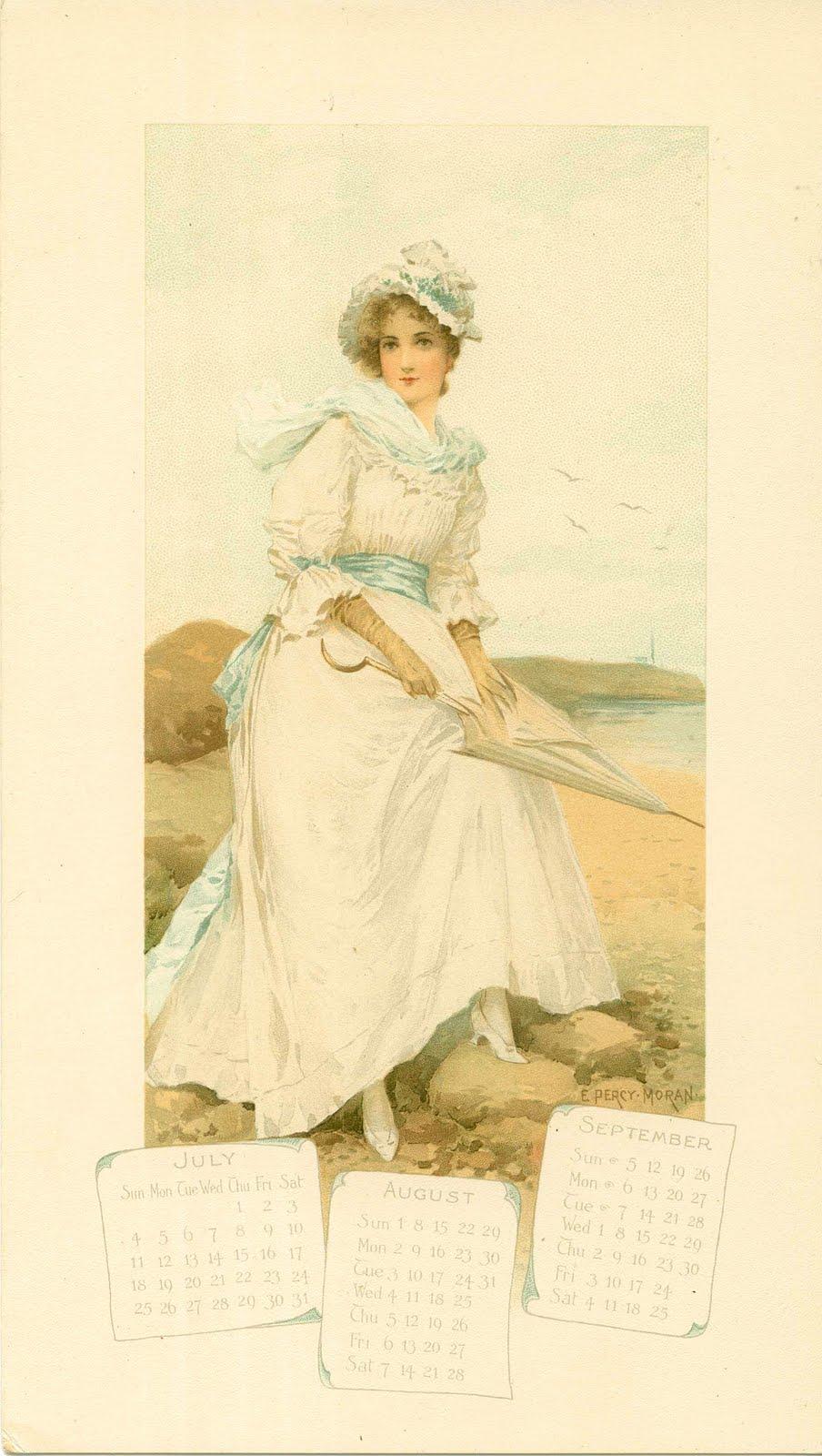 Victorian Calendar Ladies The Graphics Fairy