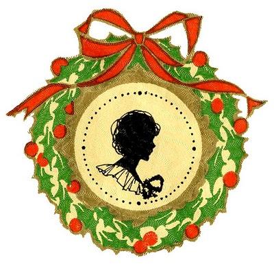Vintage Christmas Clip Art - Wreath Frame + Silhouette ...