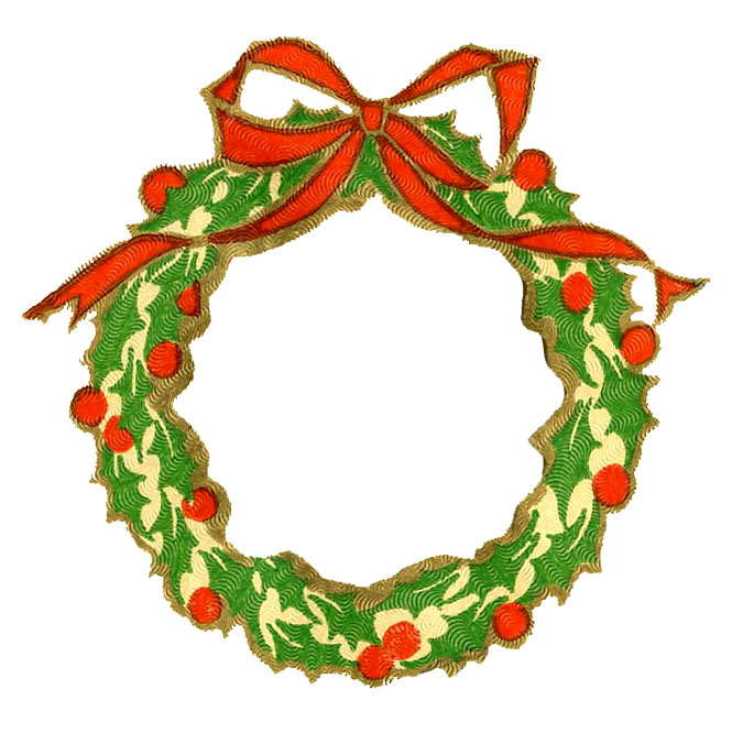 Vintage Christmas Clip Art - Wreath Frame + Silhouette - The ...
